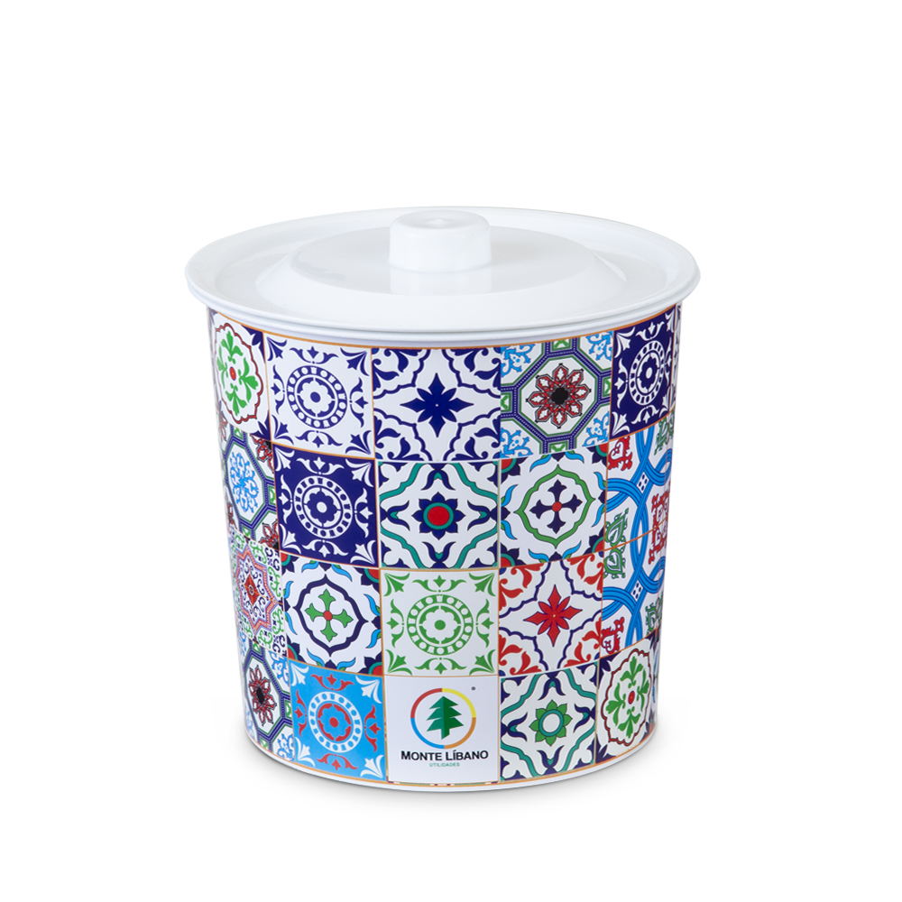 Round Tile Trash Can